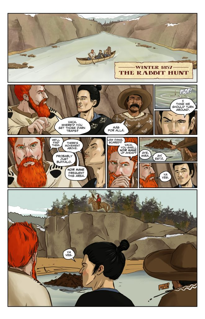 Los Poncheros, Page 2 - Trapping beavers on the Missouri River, Los Poncheros come across the Blackfeet Indians and become the hunted.